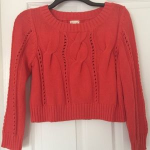 Anthropology Orange Knit Sweater